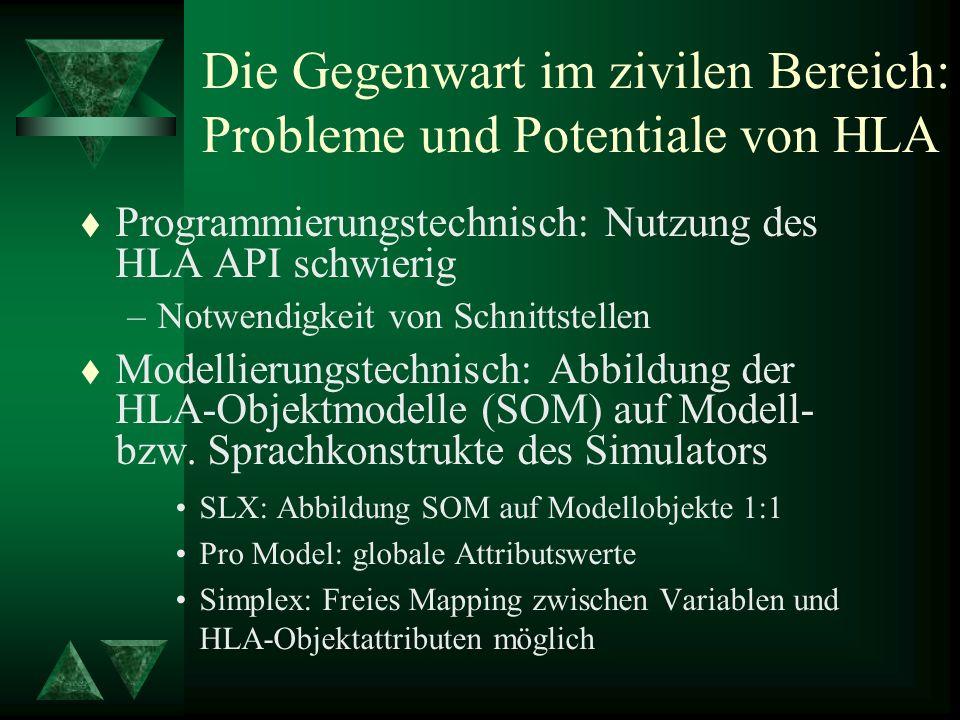 Die Gegenwart im zivilen Bereich: Probleme und Potentiale von HLA t Programmierungstechnisch: Nutzung des HLA API schwierig –Notwendigkeit von Schnittstellen t Modellierungstechnisch: Abbildung der HLA-Objektmodelle (SOM) auf Modell- bzw.