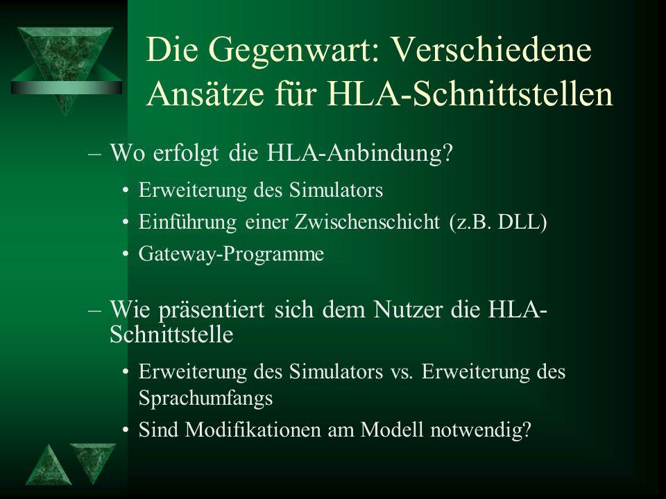 Die Gegenwart: Verschiedene Ansätze für HLA-Schnittstellen –Wo erfolgt die HLA-Anbindung.