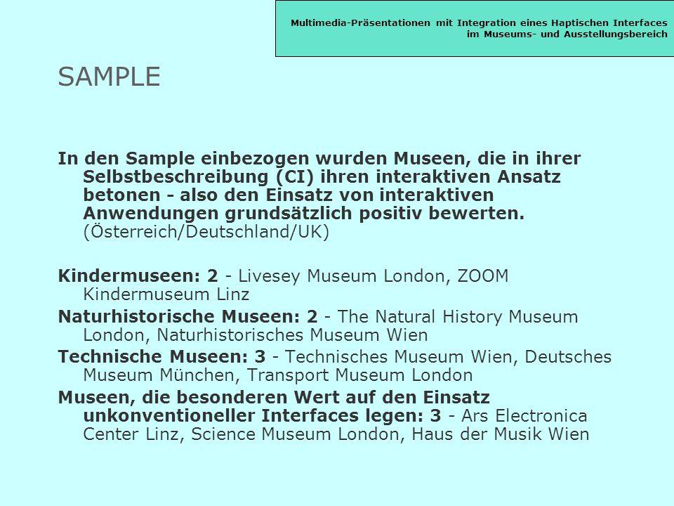 SAMPLE In den Sample einbezogen wurden Museen, die in ihrer Selbstbeschreibung (CI) ihren interaktiven Ansatz betonen - also den Einsatz von interaktiven Anwendungen grundsätzlich positiv bewerten.