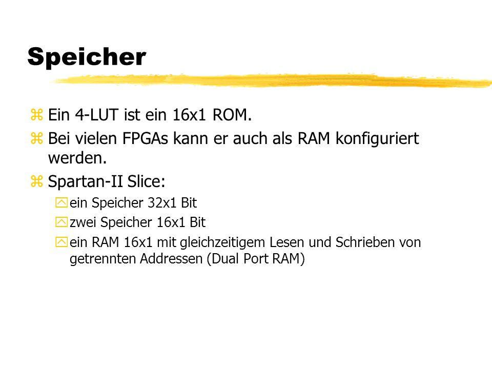 Speicher zEin 4-LUT ist ein 16x1 ROM. zBei vielen FPGAs kann er auch als RAM konfiguriert werden.