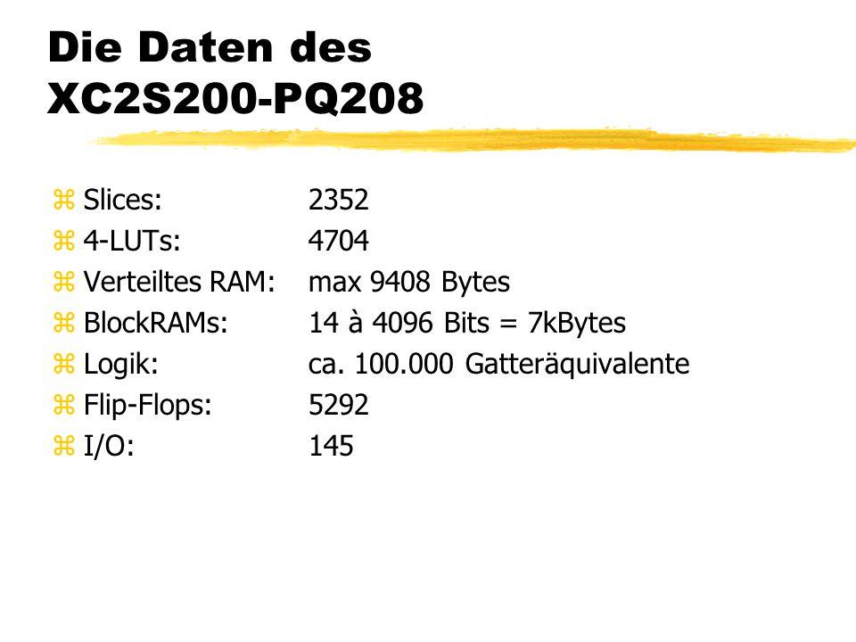 Die Daten des XC2S200-PQ208 zSlices:2352 z4-LUTs:4704 zVerteiltes RAM:max 9408 Bytes zBlockRAMs:14 à 4096 Bits = 7kBytes zLogik:ca.