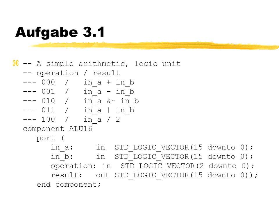 Aufgabe 3.1  -- A simple arithmetic, logic unit -- operation / result --- 000 / in_a + in_b --- 001 / in_a - in_b --- 010 / in_a &~ in_b --- 011 / in_a | in_b --- 100 / in_a / 2 component ALU16 port ( in_a: in STD_LOGIC_VECTOR(15 downto 0); in_b: in STD_LOGIC_VECTOR(15 downto 0); operation: in STD_LOGIC_VECTOR(2 downto 0); result: out STD_LOGIC_VECTOR(15 downto 0)); end component;