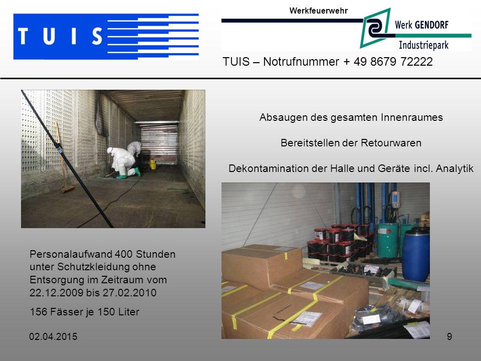 02.04.20159 Absaugen des gesamten Innenraumes Bereitstellen der Retourwaren Dekontamination der Halle und Geräte incl.
