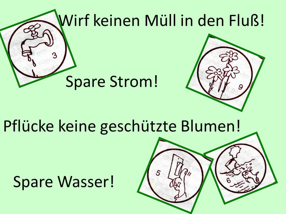 Spare Wasser! Wirf keinen Müll in den Fluß! Spare Strom! Pflücke keine geschützte Blumen!