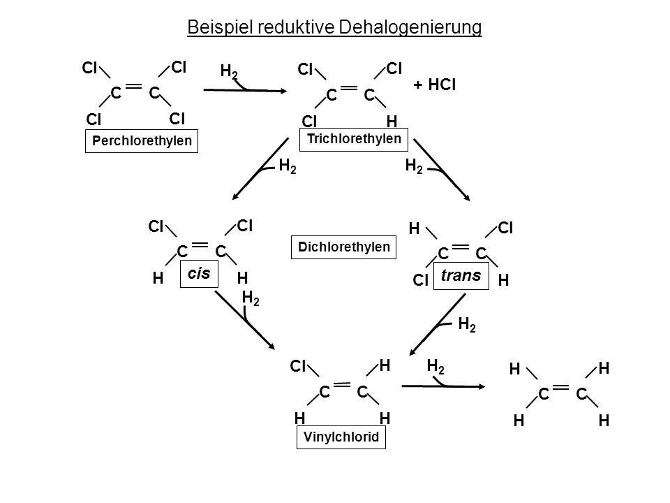 Beispiel reduktive Dehalogenierung CC Cl Cl Cl Cl CC Cl HCl Cl CC Cl HH Cl CC Cl HCl H CC H HH Cl CC H HH H H2H2 + HCl Perchlorethylen Trichlorethylen