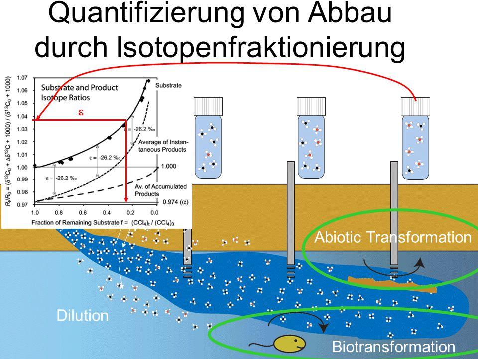 Dilution Sorption Abiotic Transformation Biotransformation  Quantifizierung von Abbau durch Isotopenfraktionierung