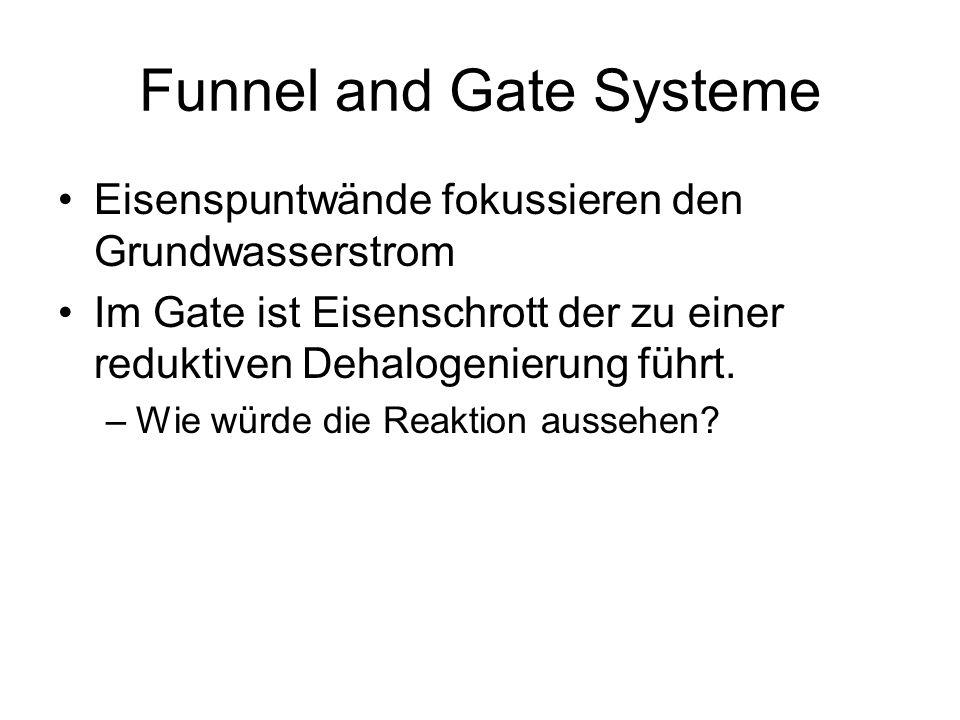 Funnel and Gate Systeme Eisenspuntwände fokussieren den Grundwasserstrom Im Gate ist Eisenschrott der zu einer reduktiven Dehalogenierung führt. –Wie