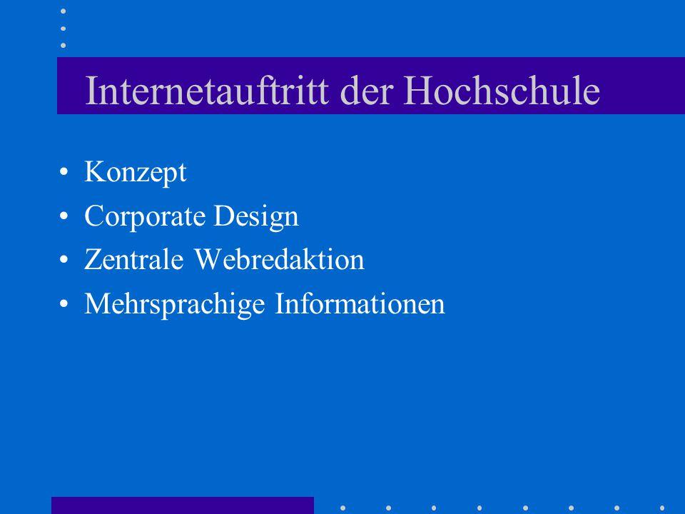 Internetauftritt der Hochschule Konzept Corporate Design Zentrale Webredaktion Mehrsprachige Informationen