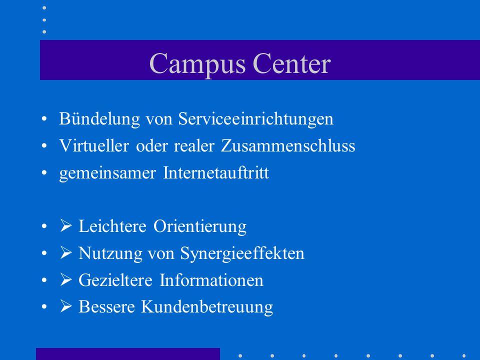 Campus Center Bündelung von Serviceeinrichtungen Virtueller oder realer Zusammenschluss gemeinsamer Internetauftritt  Leichtere Orientierung  Nutzung von Synergieeffekten  Gezieltere Informationen  Bessere Kundenbetreuung