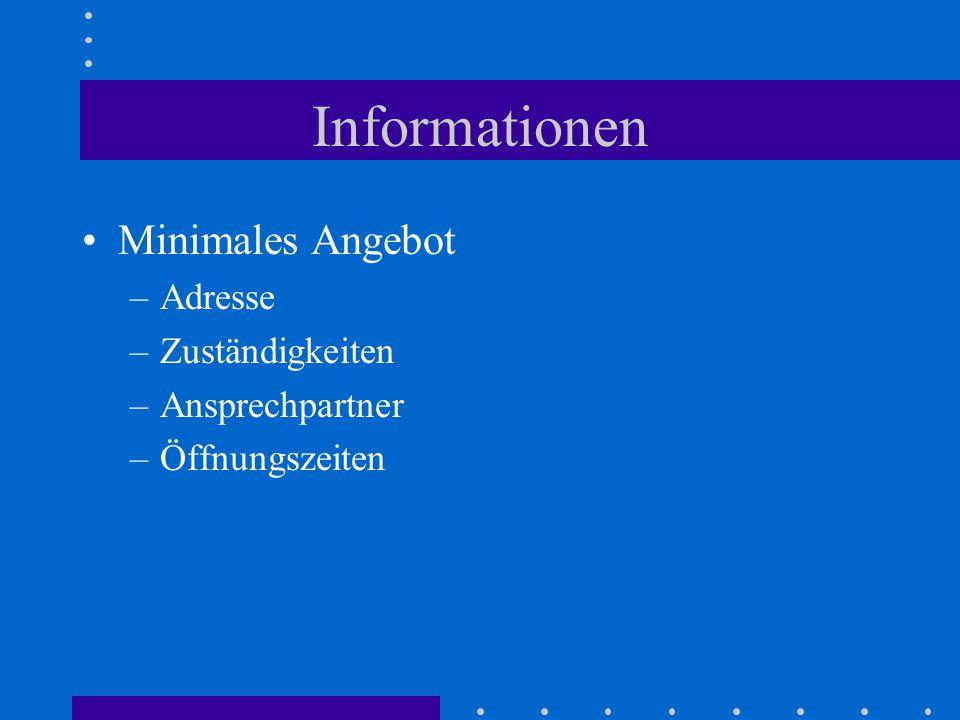 Informationen Minimales Angebot –Adresse –Zuständigkeiten –Ansprechpartner –Öffnungszeiten