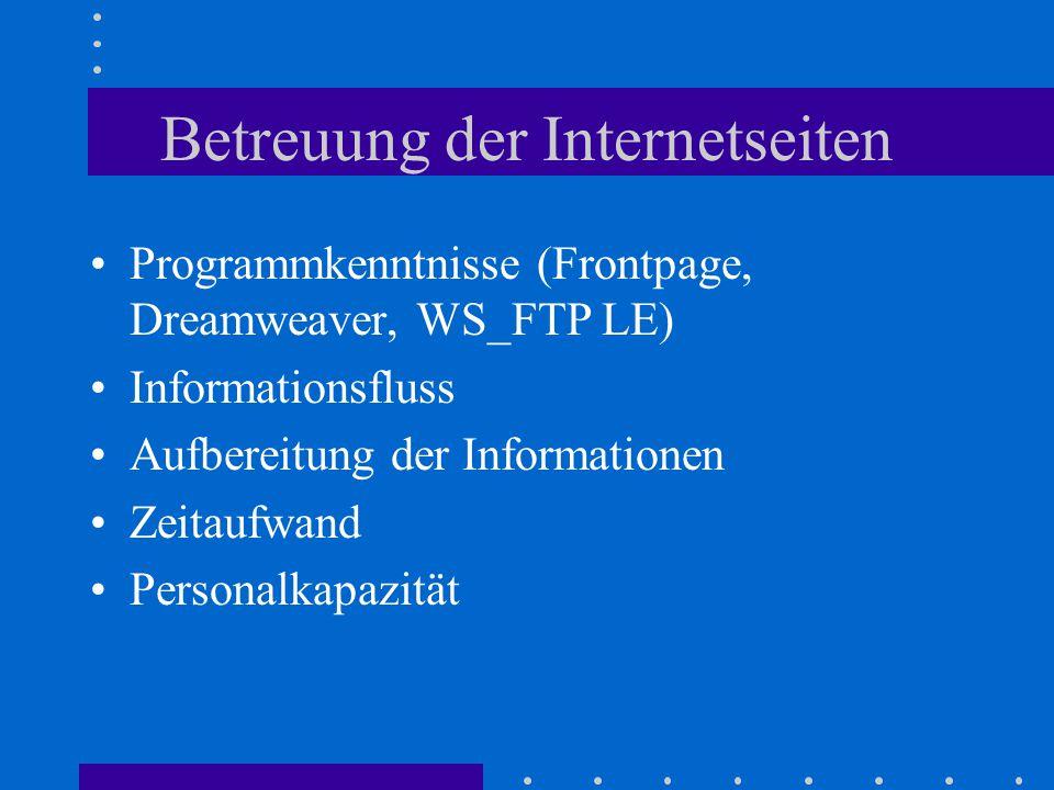 Betreuung der Internetseiten Programmkenntnisse (Frontpage, Dreamweaver, WS_FTP LE) Informationsfluss Aufbereitung der Informationen Zeitaufwand Personalkapazität