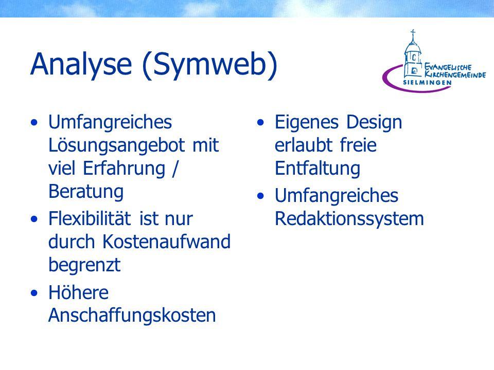 Analyse (Symweb) Umfangreiches Lösungsangebot mit viel Erfahrung / Beratung Flexibilität ist nur durch Kostenaufwand begrenzt Höhere Anschaffungskosten Eigenes Design erlaubt freie Entfaltung Umfangreiches Redaktionssystem