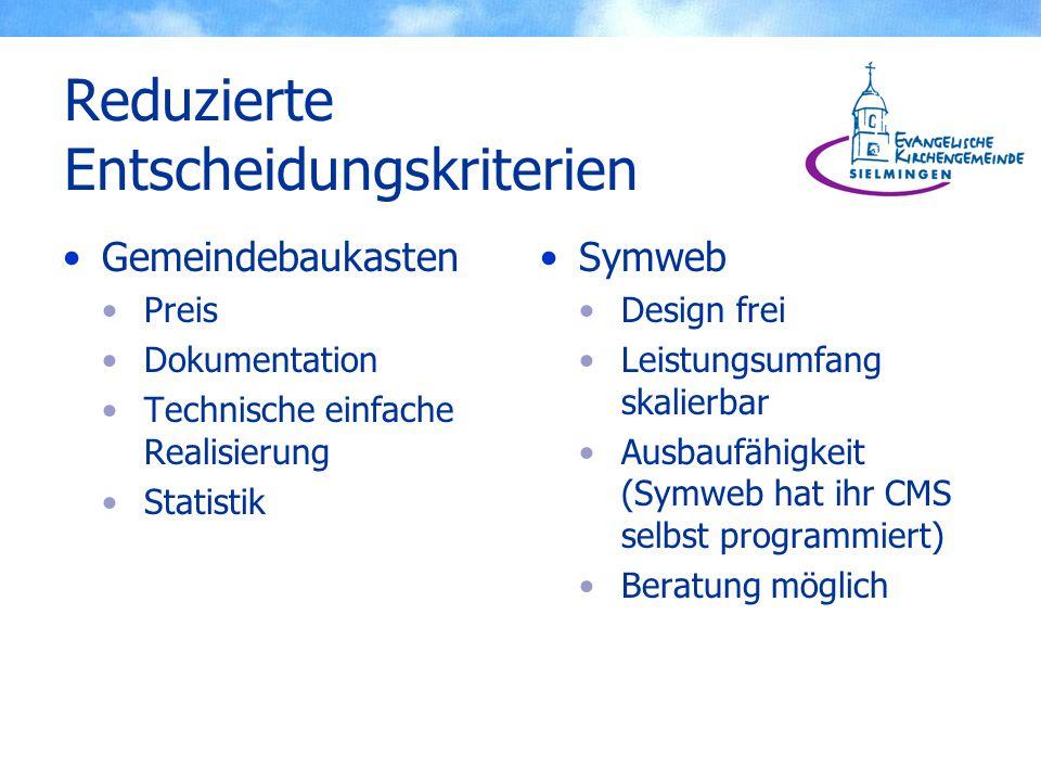 Reduzierte Entscheidungskriterien Gemeindebaukasten Preis Dokumentation Technische einfache Realisierung Statistik Symweb Design frei Leistungsumfang skalierbar Ausbaufähigkeit (Symweb hat ihr CMS selbst programmiert) Beratung möglich