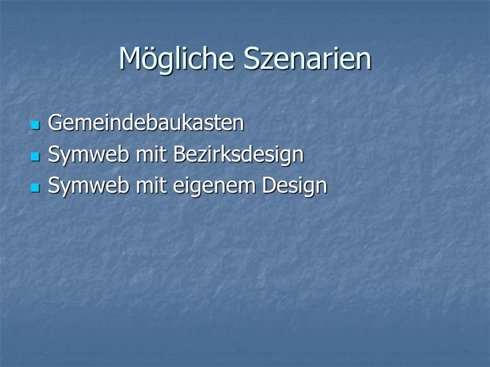 Mögliche Szenarien Gemeindebaukasten Gemeindebaukasten Symweb mit Bezirksdesign Symweb mit Bezirksdesign Symweb mit eigenem Design Symweb mit eigenem Design