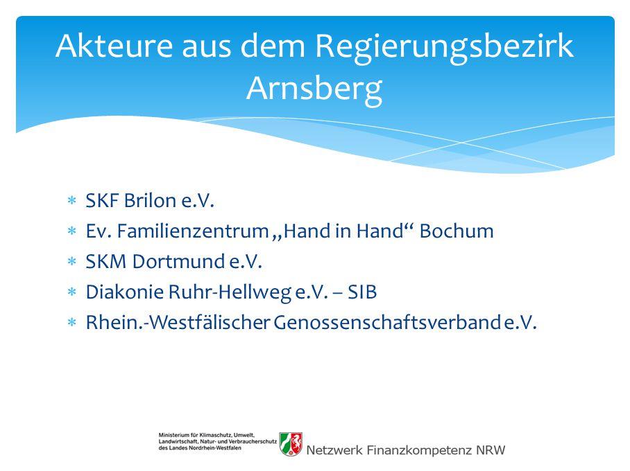 """ SKF Brilon e.V. Ev. Familienzentrum """"Hand in Hand Bochum  SKM Dortmund e.V."""