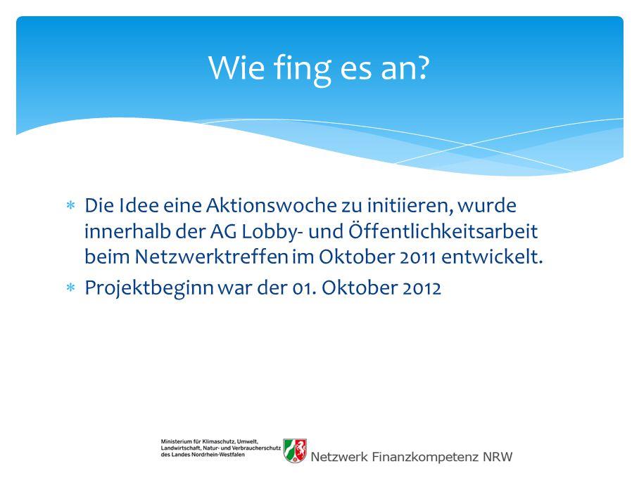 Die Idee eine Aktionswoche zu initiieren, wurde innerhalb der AG Lobby- und Öffentlichkeitsarbeit beim Netzwerktreffen im Oktober 2011 entwickelt.