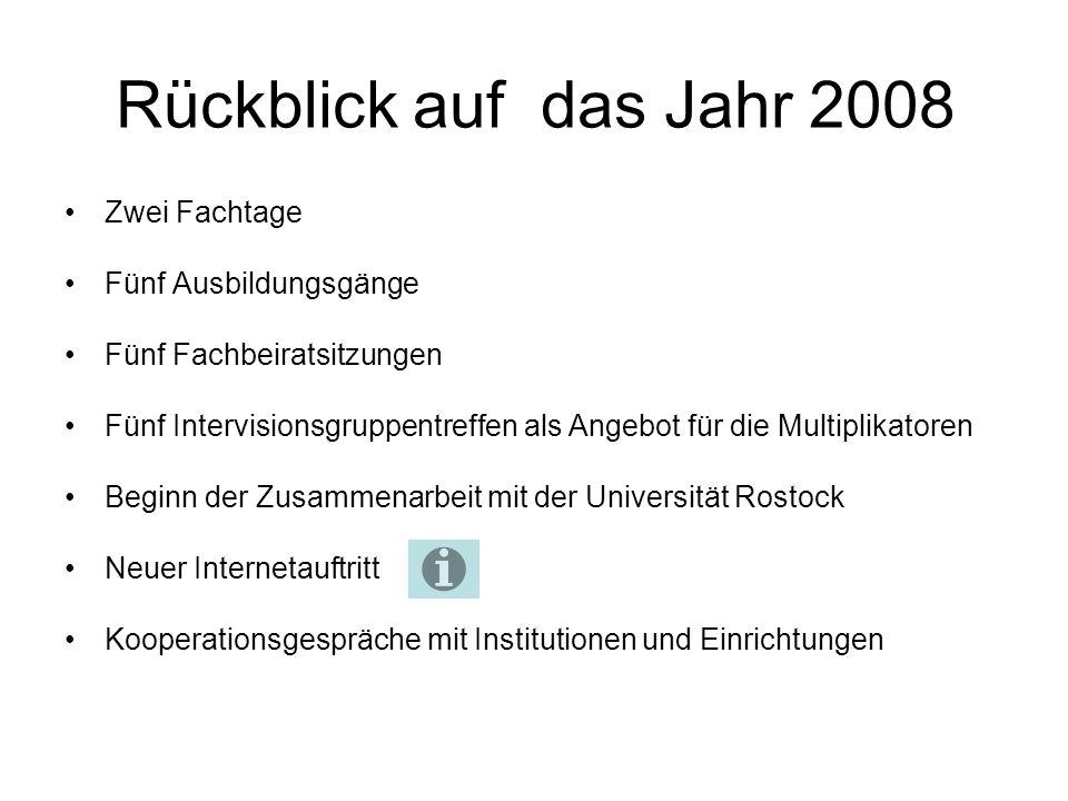 Rückblick auf das Jahr 2008 Zwei Fachtage Fünf Ausbildungsgänge Fünf Fachbeiratsitzungen Fünf Intervisionsgruppentreffen als Angebot für die Multiplikatoren Beginn der Zusammenarbeit mit der Universität Rostock Neuer Internetauftritt Kooperationsgespräche mit Institutionen und Einrichtungen