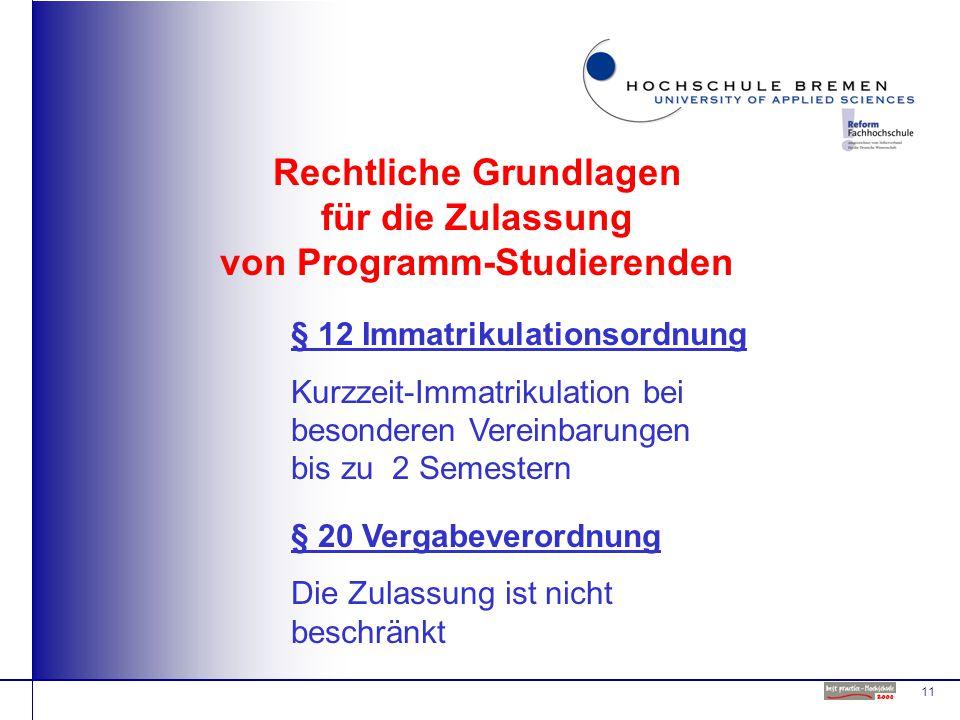 11 Rechtliche Grundlagen für die Zulassung von Programm-Studierenden § 12 Immatrikulationsordnung Kurzzeit-Immatrikulation bei besonderen Vereinbarungen bis zu 2 Semestern § 20 Vergabeverordnung Die Zulassung ist nicht beschränkt