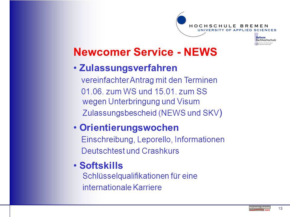 13 Newcomer Service - NEWS Zulassungsverfahren vereinfachter Antrag mit den Terminen 01.06.