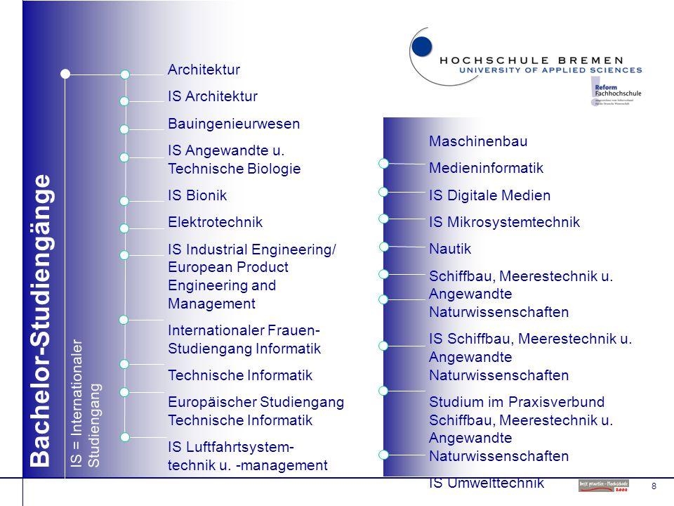 8 Bachelor-Studiengänge Maschinenbau Medieninformatik IS Digitale Medien IS Mikrosystemtechnik Nautik Schiffbau, Meerestechnik u.