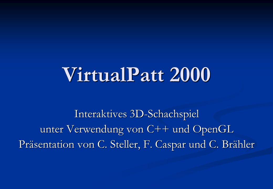 02.04.2015 2virtualpatt2000.de VirtualPatt 2000 Vorstellung des Projektes Vorstellung des Projektes OpenGL in der Anwendung OpenGL in der Anwendung besondere Herausforderungen besondere Herausforderungen Software-Engineering Software-Engineering Demonstration Demonstration