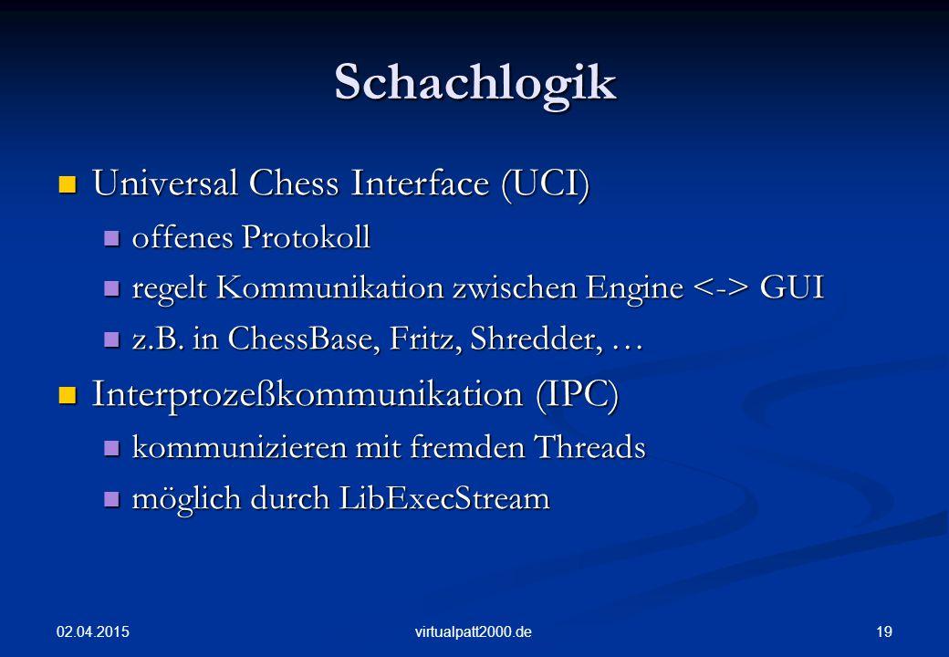 02.04.2015 19virtualpatt2000.de Schachlogik Universal Chess Interface (UCI) Universal Chess Interface (UCI) offenes Protokoll offenes Protokoll regelt Kommunikation zwischen Engine GUI regelt Kommunikation zwischen Engine GUI z.B.