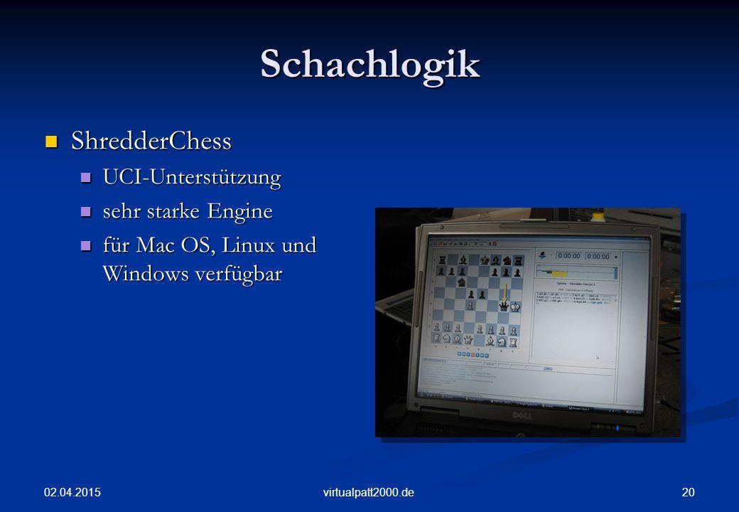 02.04.2015 20virtualpatt2000.de Schachlogik ShredderChess ShredderChess UCI-Unterstützung UCI-Unterstützung sehr starke Engine sehr starke Engine für Mac OS, Linux und Windows verfügbar für Mac OS, Linux und Windows verfügbar