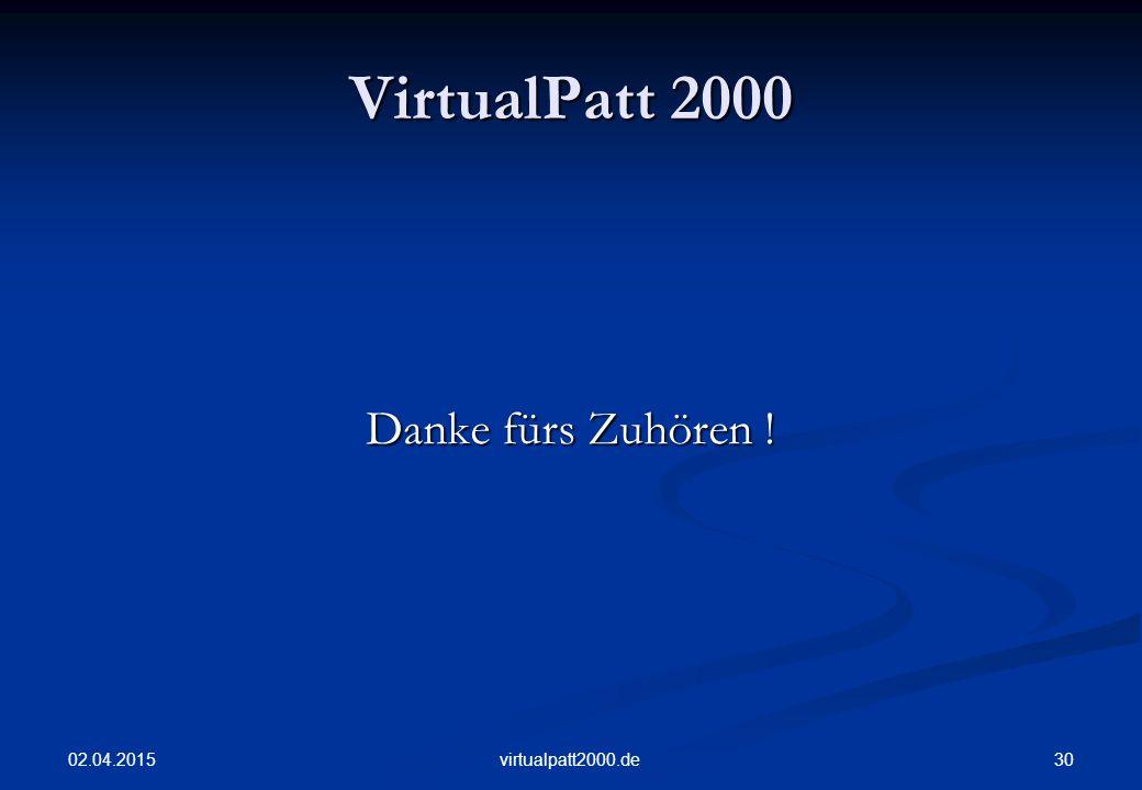 02.04.2015 30virtualpatt2000.de VirtualPatt 2000 Danke fürs Zuhören !