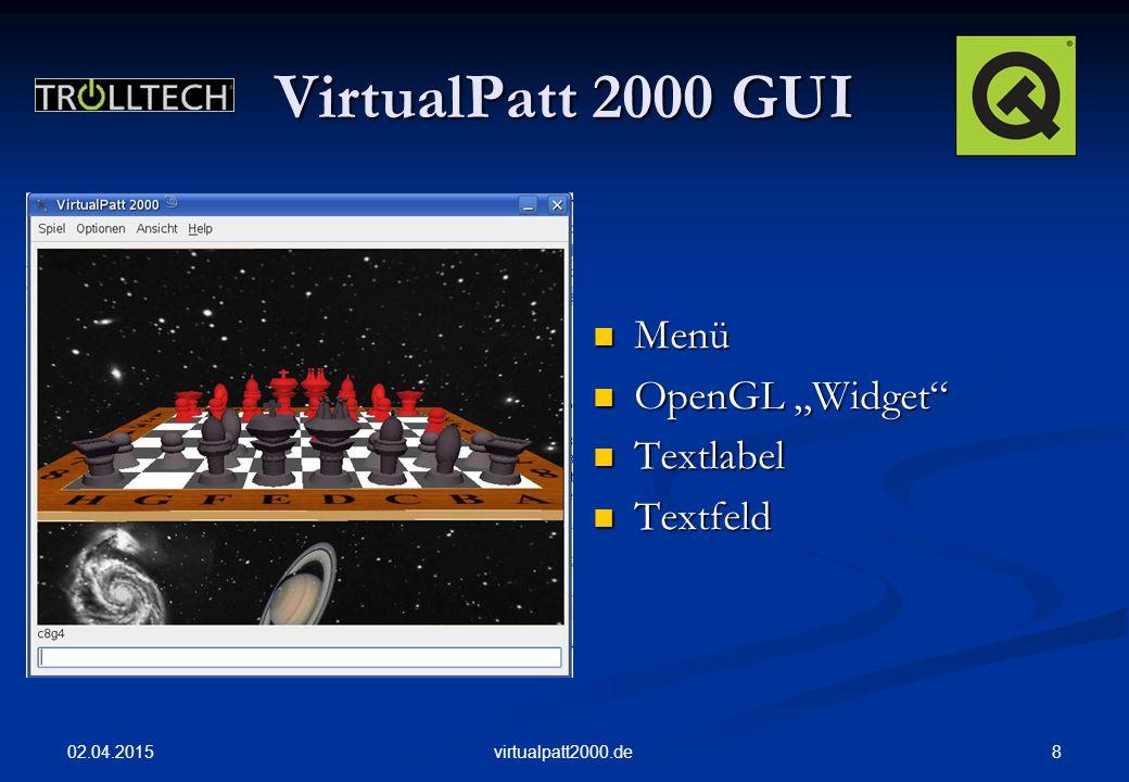 "02.04.2015 8virtualpatt2000.de VirtualPatt 2000 GUI Menü OpenGL ""Widget Textlabel Textfeld"