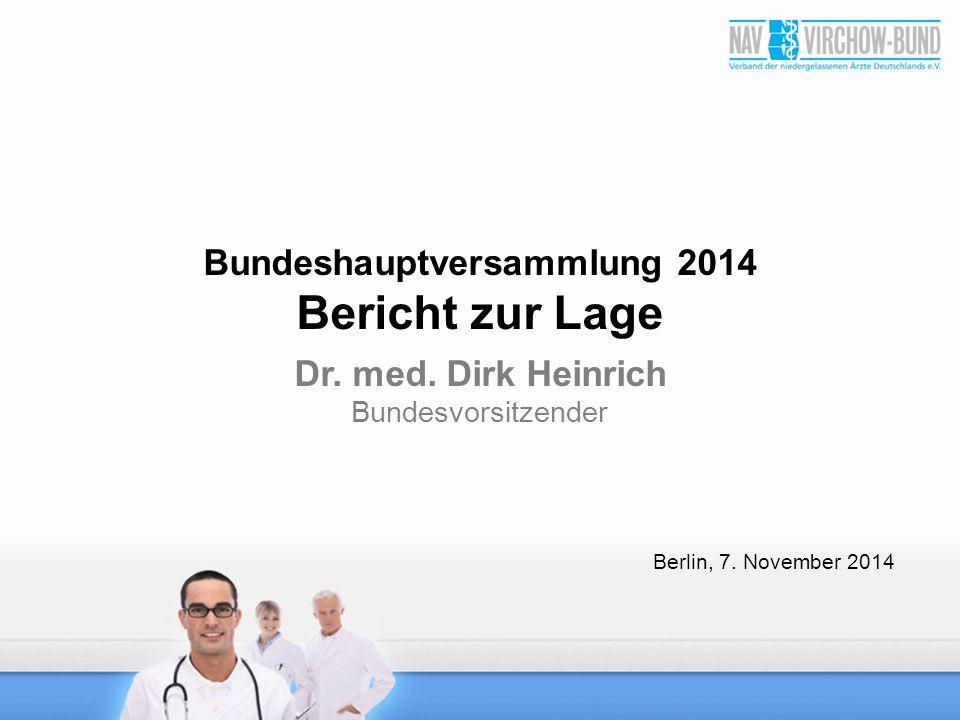Bundeshauptversammlung 2014 Bericht zur Lage Dr. med. Dirk Heinrich Bundesvorsitzender Berlin, 7. November 2014