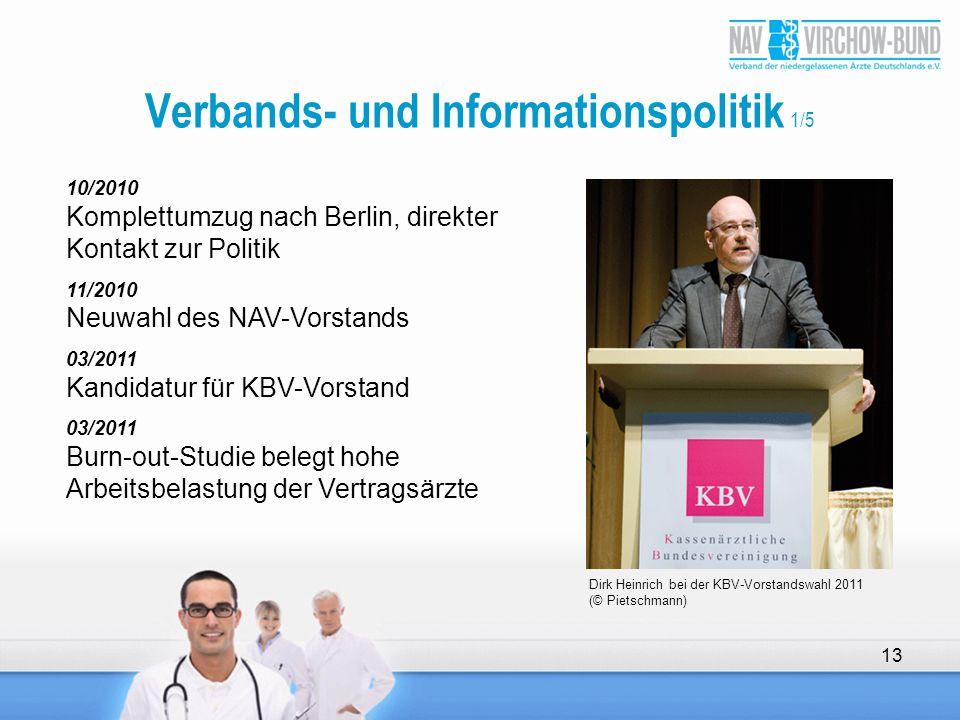 Verbands- und Informationspolitik 1/5 10/2010 Komplettumzug nach Berlin, direkter Kontakt zur Politik 11/2010 Neuwahl des NAV-Vorstands 03/2011 Kandid