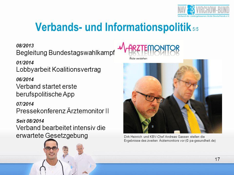 17 Verbands- und Informationspolitik 5/5 Dirk Heinrich und KBV-Chef Andreas Gassen stellen die Ergebnisse des zweiten Ärztemonitors vor (© pa-gesundhe