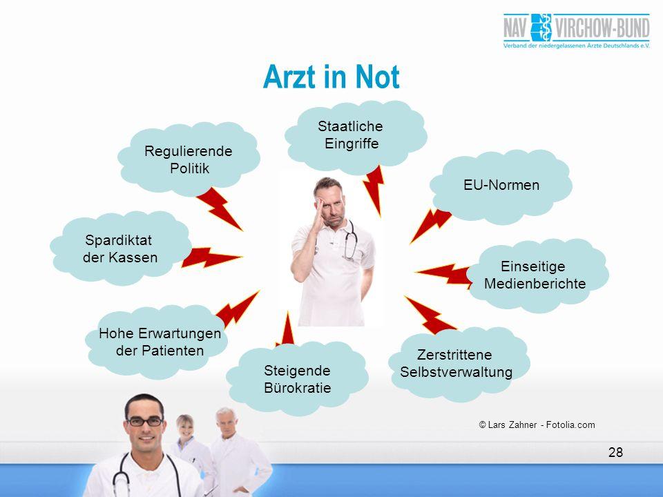 Arzt in Not 28 © Lars Zahner - Fotolia.com Regulierende Politik Staatliche Eingriffe EU-Normen Einseitige Medienberichte Zerstrittene Selbstverwaltung