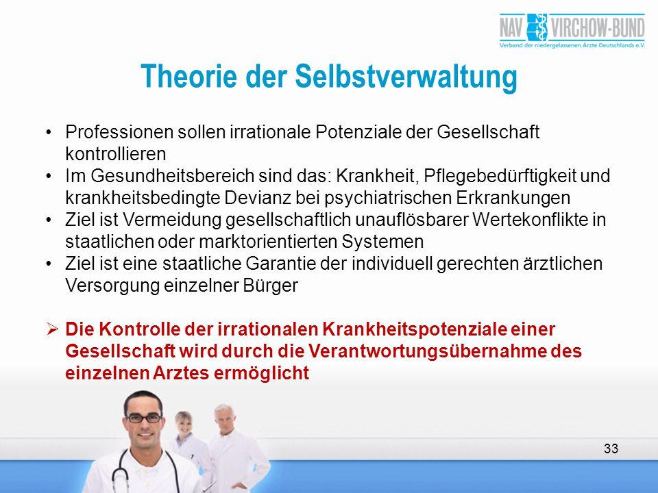 Theorie der Selbstverwaltung 33 Professionen sollen irrationale Potenziale der Gesellschaft kontrollieren Im Gesundheitsbereich sind das: Krankheit, P
