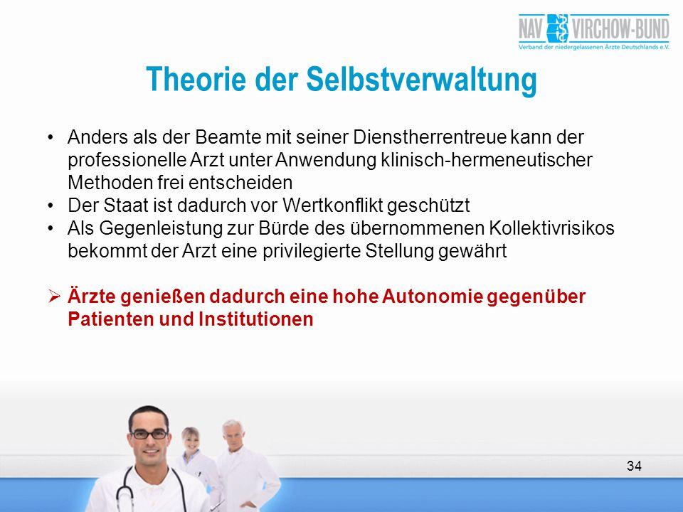 Theorie der Selbstverwaltung 34 Anders als der Beamte mit seiner Dienstherrentreue kann der professionelle Arzt unter Anwendung klinisch-hermeneutisch