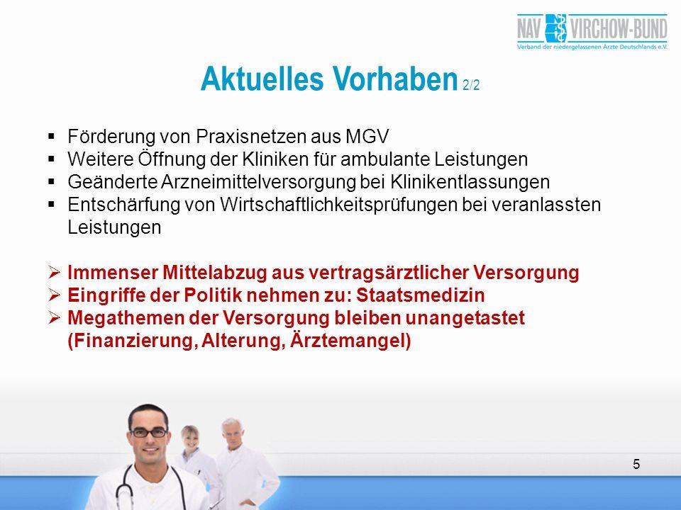 Aktuelles Vorhaben 2/2  Förderung von Praxisnetzen aus MGV  Weitere Öffnung der Kliniken für ambulante Leistungen  Geänderte Arzneimittelversorgung