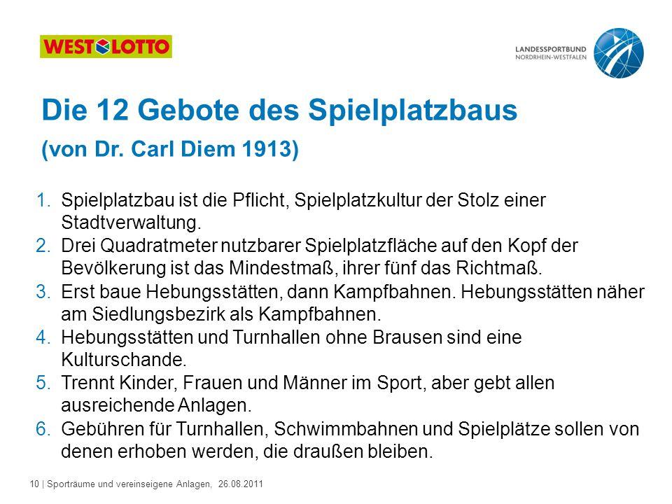 10 | Sporträume und vereinseigene Anlagen, 26.08.2011 Die 12 Gebote des Spielplatzbaus (von Dr.