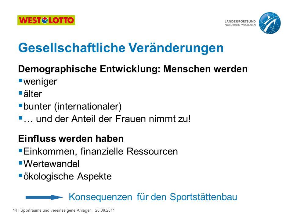 14 | Sporträume und vereinseigene Anlagen, 26.08.2011 Gesellschaftliche Veränderungen Demographische Entwicklung: Menschen werden  weniger  älter 
