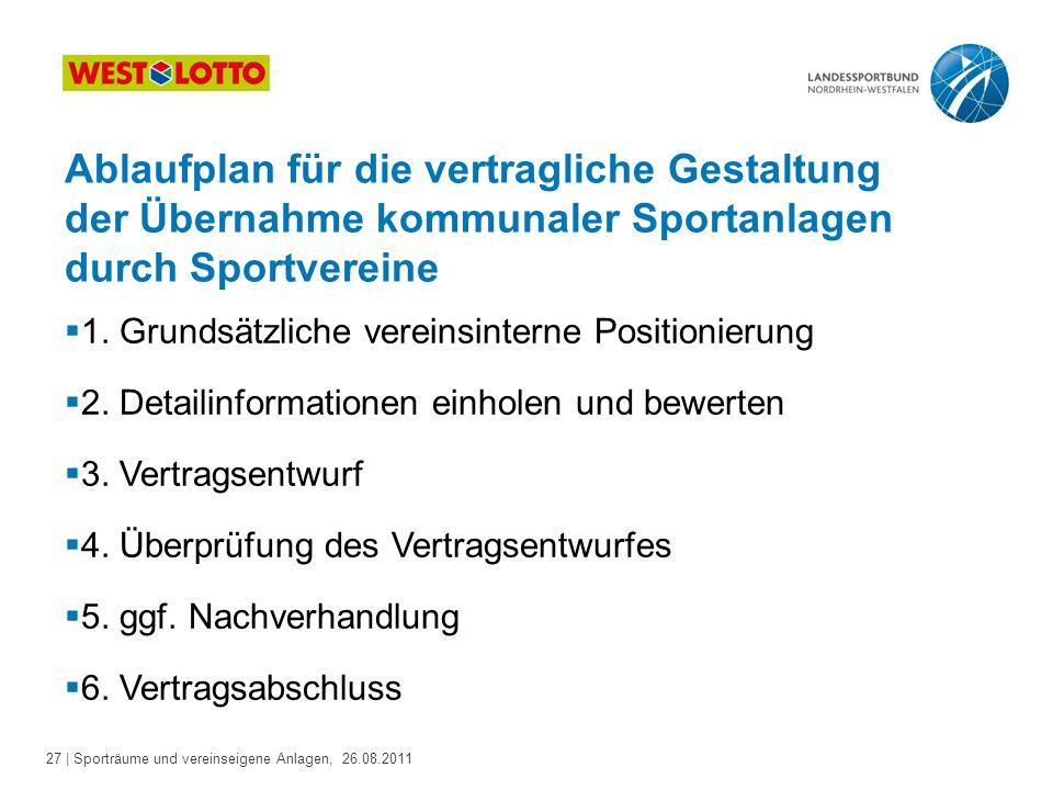 27 | Sporträume und vereinseigene Anlagen, 26.08.2011 Ablaufplan für die vertragliche Gestaltung der Übernahme kommunaler Sportanlagen durch Sportvereine  1.