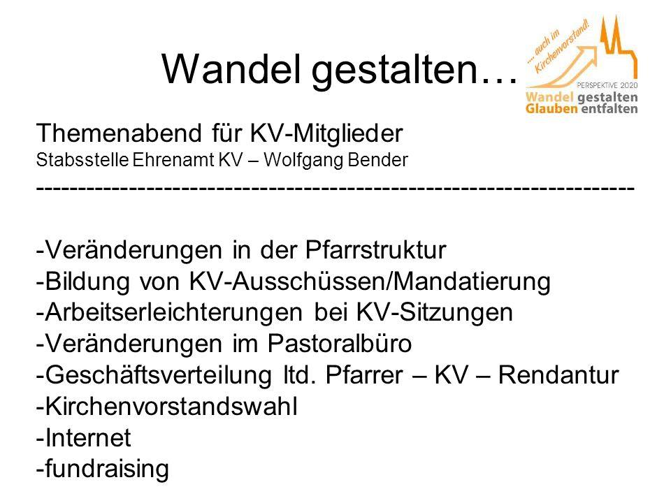 Wandel gestalten… Themenabend für KV-Mitglieder Stabsstelle Ehrenamt KV – Wolfgang Bender ------------------------------------------------------------