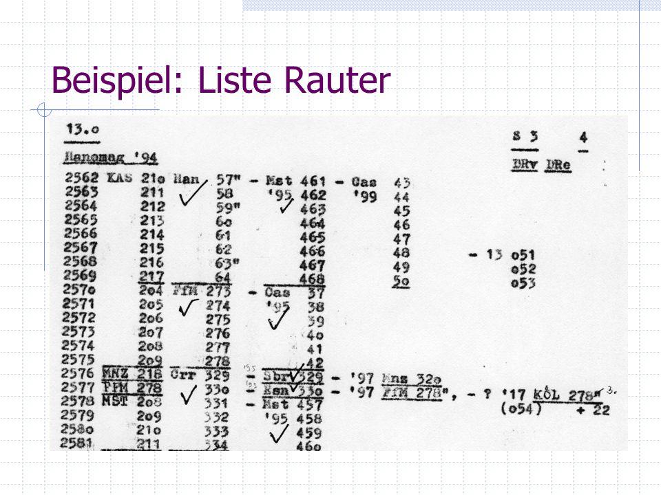 Beispiel: Liste Rauter