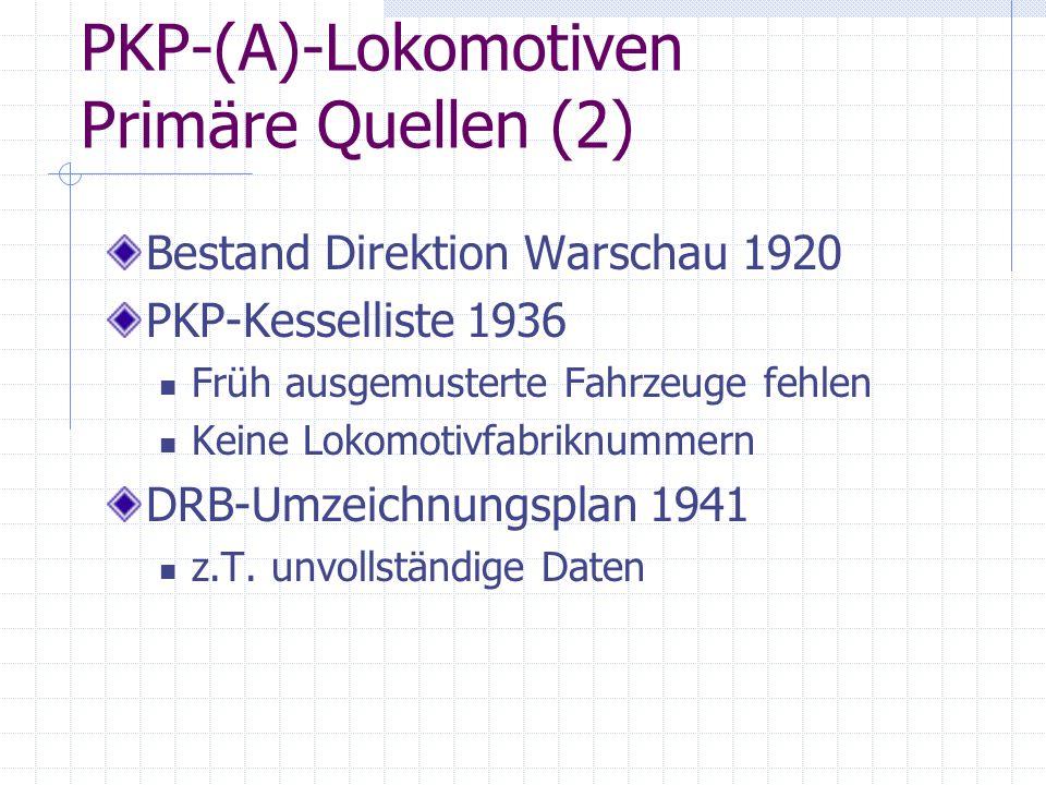 PKP-(A)-Lokomotiven Primäre Quellen (2) Bestand Direktion Warschau 1920 PKP-Kesselliste 1936 Früh ausgemusterte Fahrzeuge fehlen Keine Lokomotivfabrik