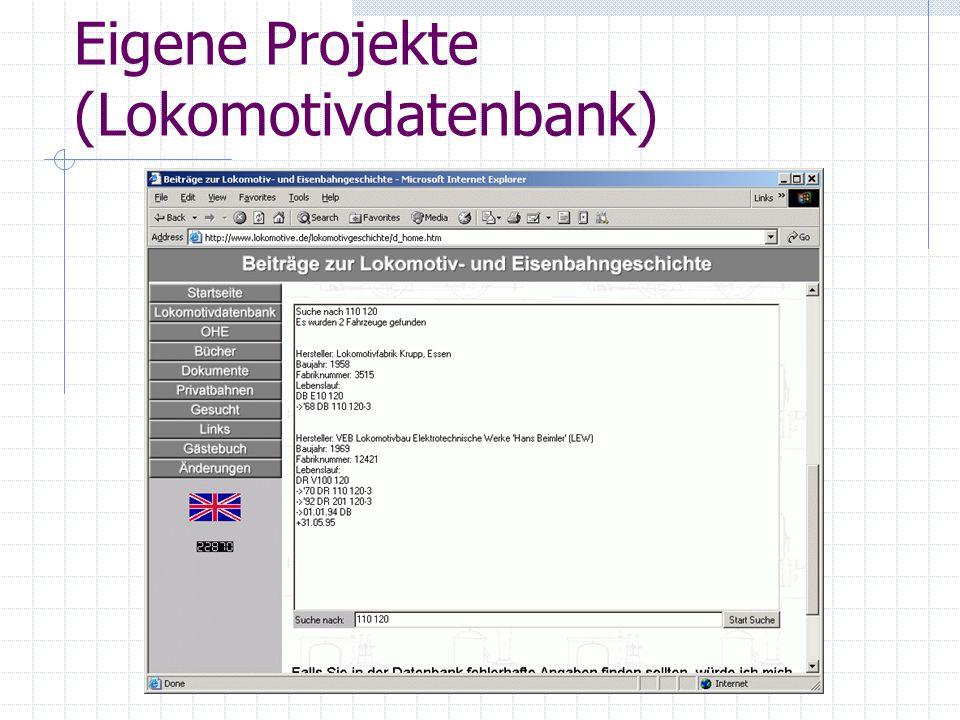 Eigene Projekte (Lokomotivdatenbank)