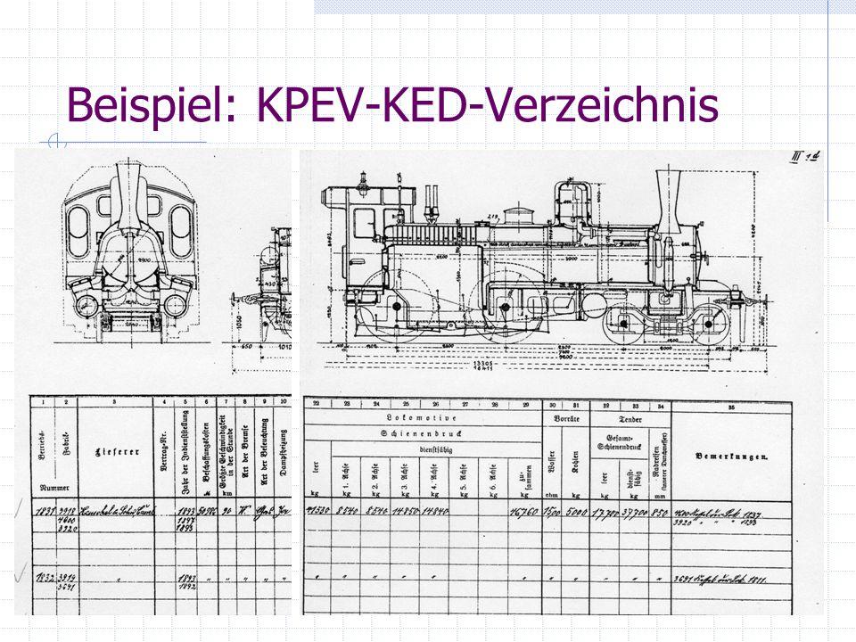 Preußische Lokomotiven Primäre Quellen (2) Amtsblätter der Direktionen Vierteljährliche Informationen über Veränderungen im Fahrzeugpark Zahlreiche Amtsblätter liegen in Bibliotheken, aber nur schwer zugänglich Was ist verfügbar.