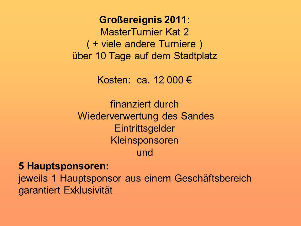 Großereignis 2011: MasterTurnier Kat 2 ( + viele andere Turniere ) über 10 Tage auf dem Stadtplatz Kosten: ca.