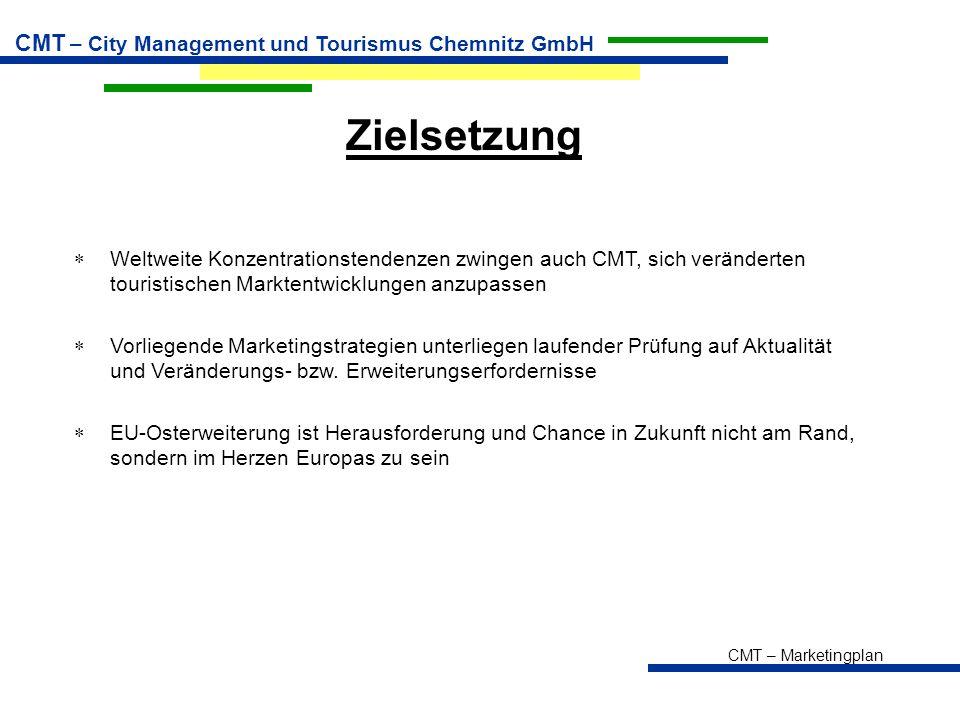 CMT – Marketingplan CMT – City Management und Tourismus Chemnitz GmbH Zielsetzung  Weltweite Konzentrationstendenzen zwingen auch CMT, sich verändert