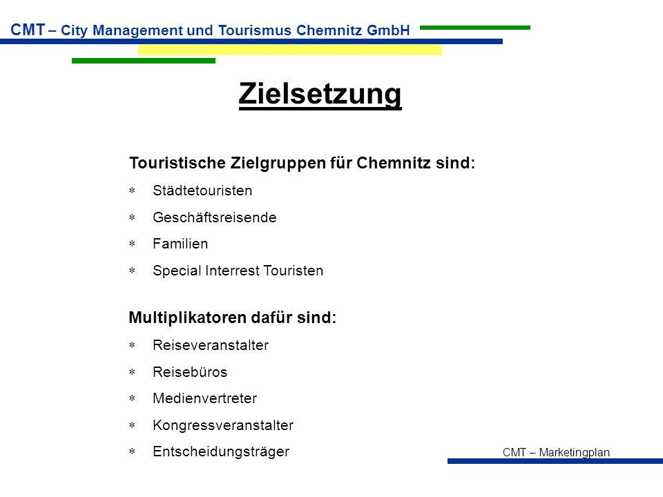 CMT – Marketingplan CMT – City Management und Tourismus Chemnitz GmbH Zielsetzung Multiplikatoren dafür sind:  Reiseveranstalter  Reisebüros  Medie