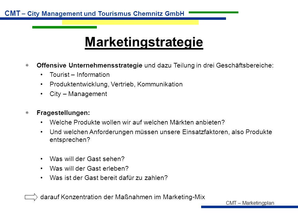 CMT – Marketingplan CMT – City Management und Tourismus Chemnitz GmbH Marketingstrategie  Offensive Unternehmensstrategie und dazu Teilung in drei Ge
