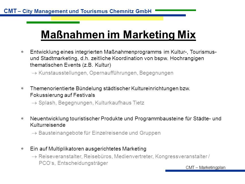 CMT – Marketingplan CMT – City Management und Tourismus Chemnitz GmbH Maßnahmen im Marketing Mix  Entwicklung eines integrierten Maßnahmenprogramms im Kultur-, Tourismus- und Stadtmarketing, d.h.