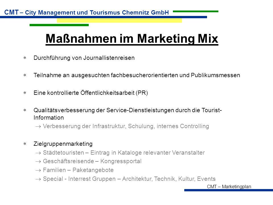 CMT – Marketingplan CMT – City Management und Tourismus Chemnitz GmbH Maßnahmen im Marketing Mix  Durchführung von Journallistenreisen  Teilnahme an